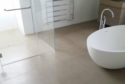lazenby Sahara pre-cast concrete floor tiles and sink