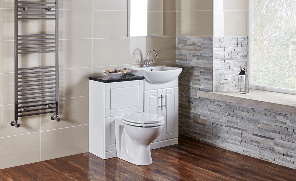 Frontline Bathrooms' traditional floor-standing Aquachic bathroom furniture in high gloss white.
