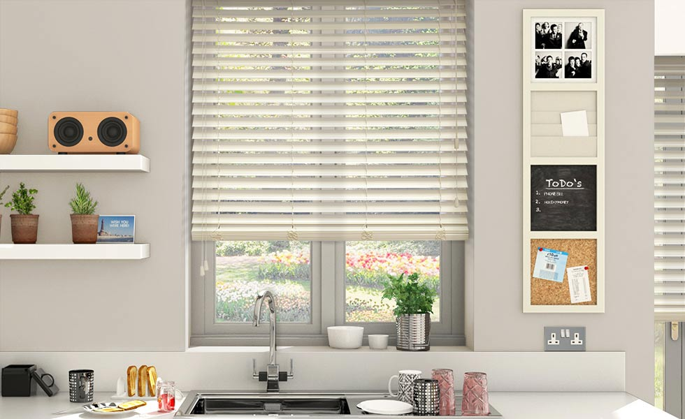 blinds 2go Wooden Blinds high gloss cream