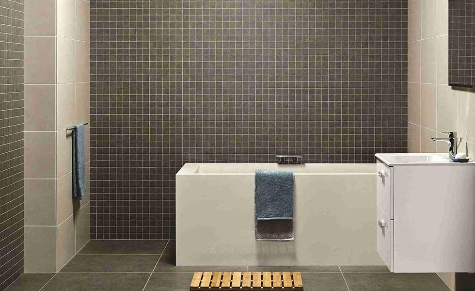 Grey floor tiles in bathroom