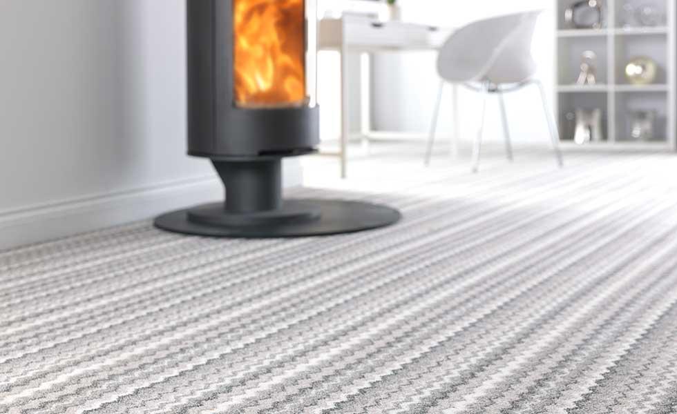 Striped carpet in living room