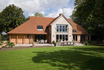 Exterior of oak frame self build in Cambridgeshire