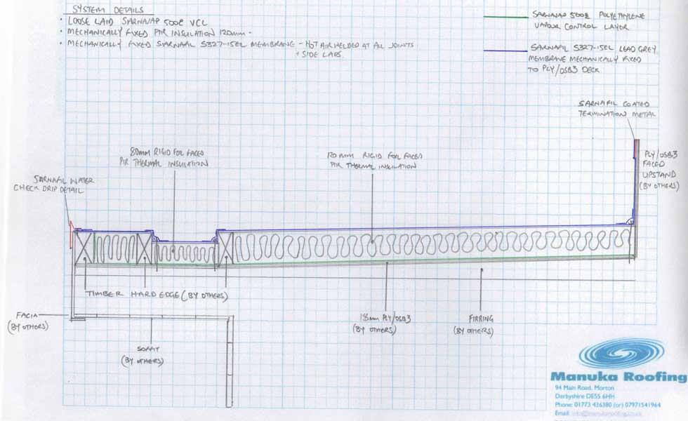 drawing of sarnafil flat roof build up