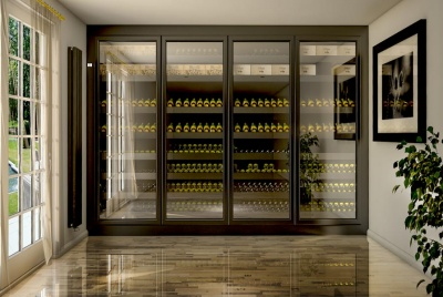 wine corner wall cellar marble floor