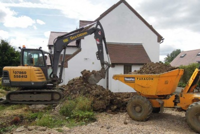The digger made light work of excavating the spoil