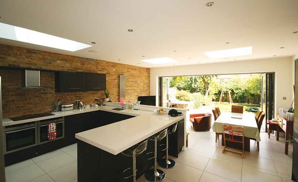 A new kitchen dining and living space features in this extension to a semi-detached home