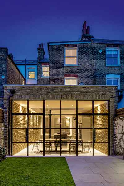 A sympathetic extension to a London terrace using similar brickwork to the existing property