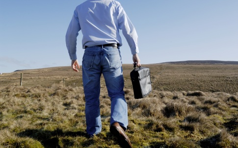 career change briefcase countryside