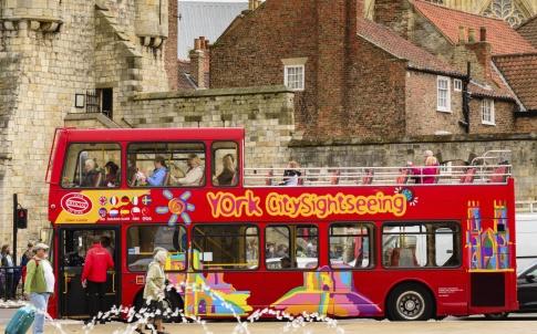 York sightseeing red tour bus