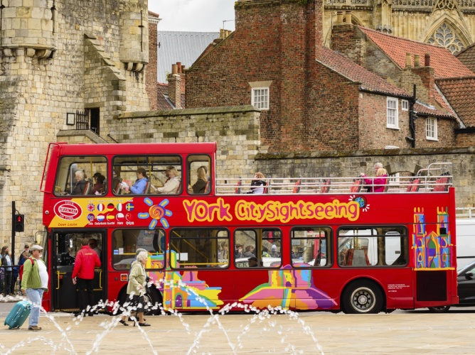 York sightseeing red tour bus