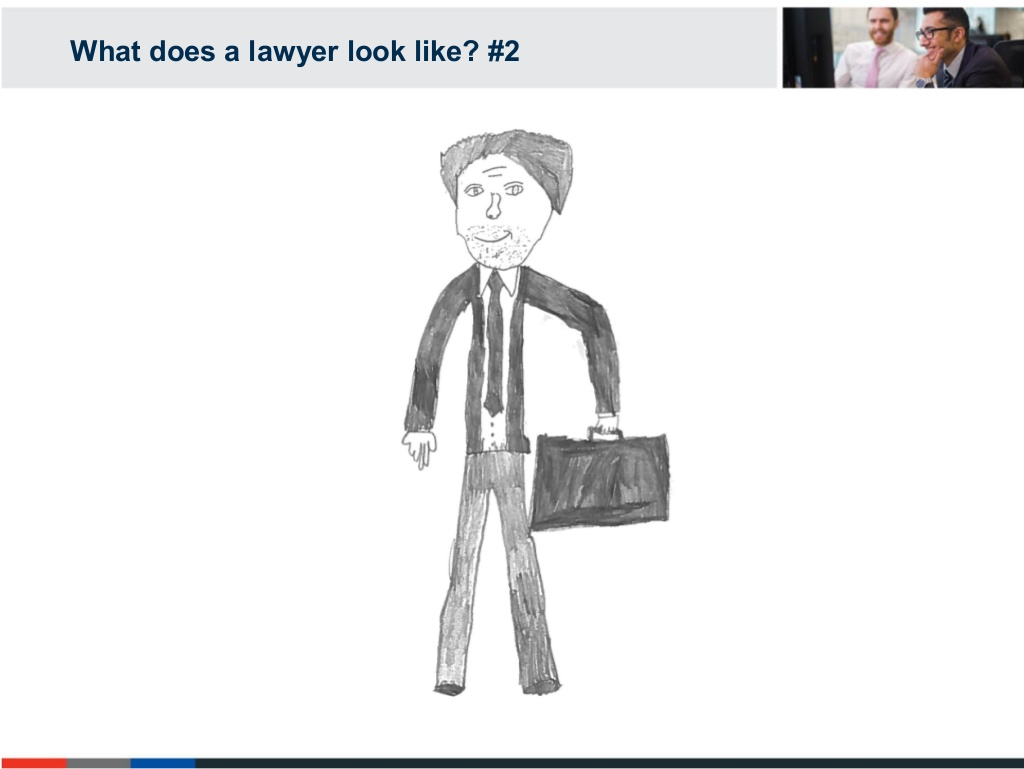 A lawyer, as drawn by one of the children in the study