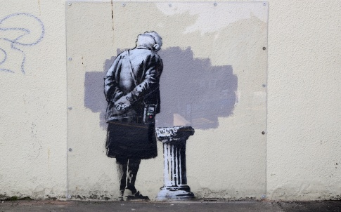 'Art Buff', created by street artist Banksy which appeared in Folkestone, Kent. Photo: Gareth Fuller/PA Wire