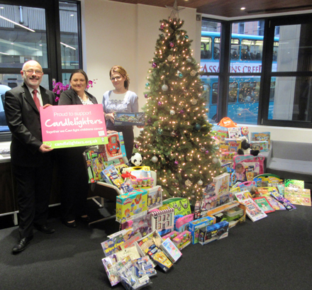 Walker Morris lighting up Christmas with their toy donations to Candlelighters and Swinnow Children's Centre