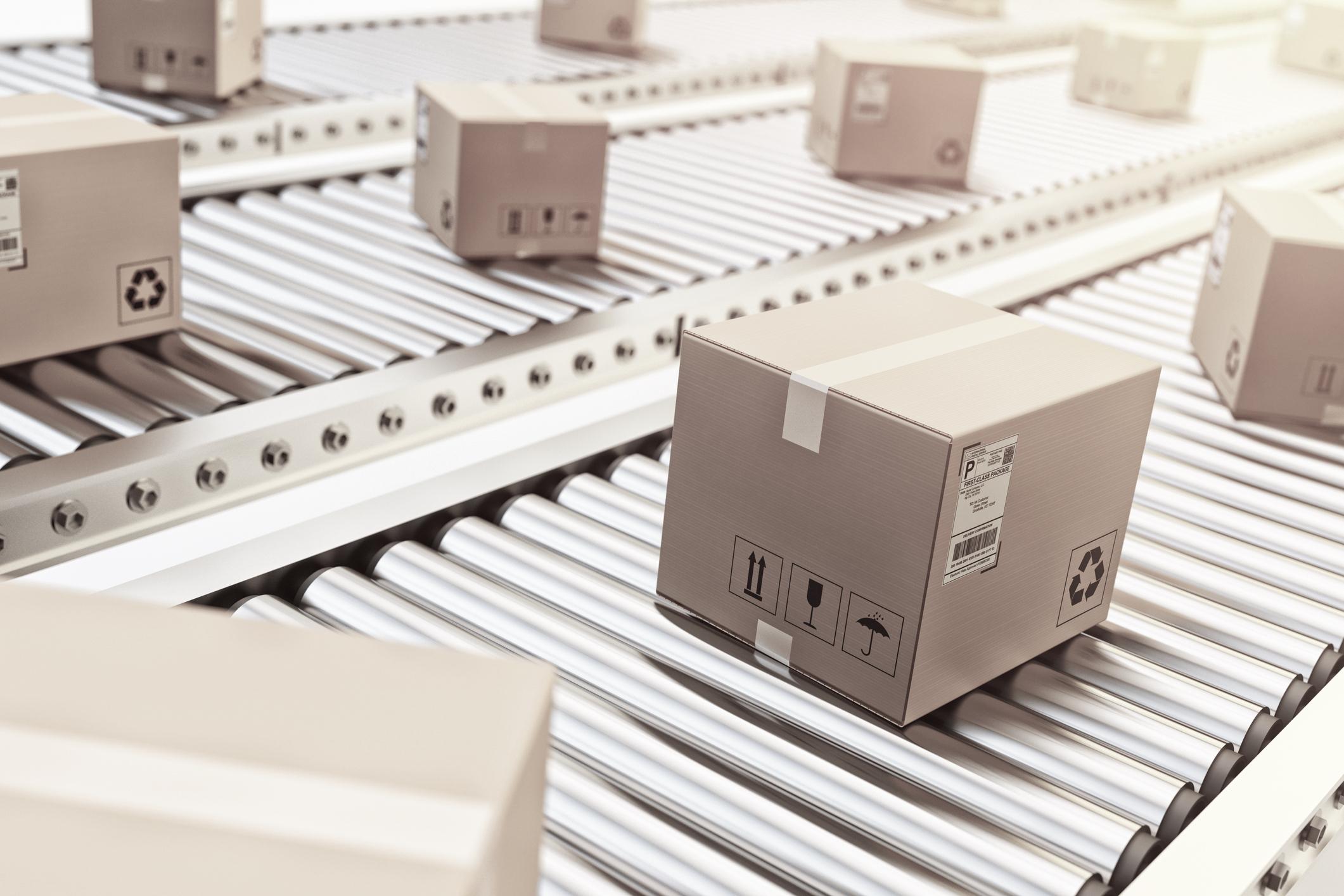 goods, grey market, package, conveyor belt, delivery, amazon