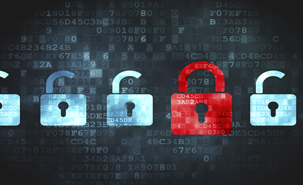 Safety concept: Locks on digital background