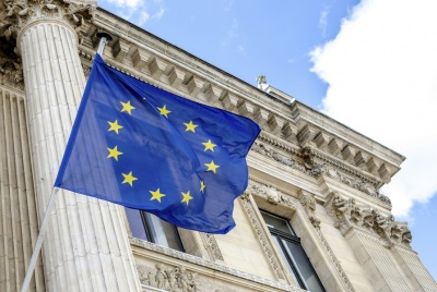 European Union flag flying outside Brussels Bourse