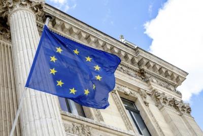 European Union flag flying outside Brussels Bourse