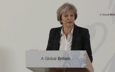 May delivering her Lancaster House address on Brexit