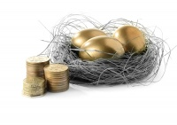 Golden eggs in nest and sterling coins