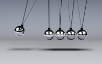 Newtons Cradle with logo of Standard Life, Aberdeen and Lloyds Banking Group added