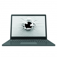File image of Modern Laptop with Broken Brick Screen