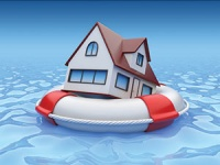 File image of house floating on lifesaver ring