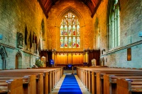 Stock photograph of the interior of the landmark Dunkeld Cathedral, Church of Scotland place of worship in Dunkeld, Scotland, UK.