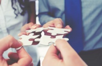 Group of business people holding a jigsaw puzzle pieces. Business solution integration concept. Multi ethnic group. Close up of hands