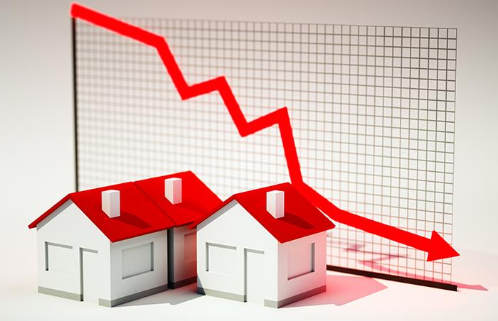 arrow down houses graph