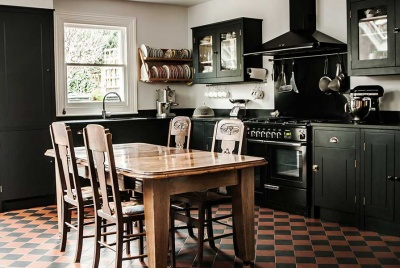 black British Standard Georgian style kitchen with large central table