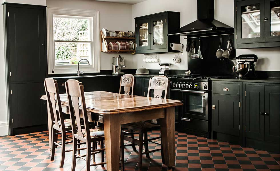 Black British Standard Georgian Style Kitchen With Large Central Table Part 39