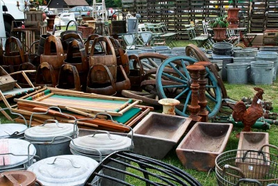 Reclaimed materials in salvage yard