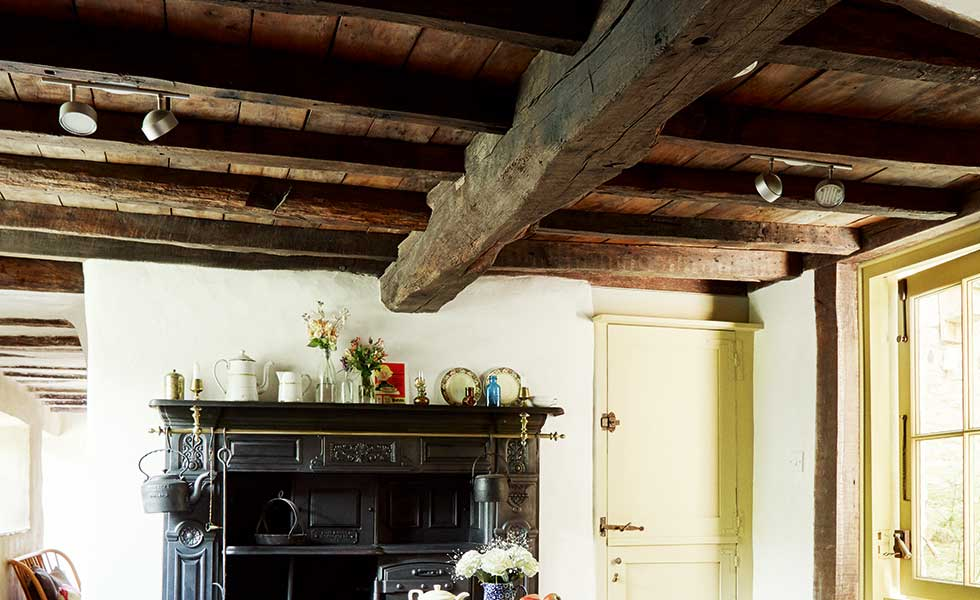 Timber beams on ceiling of Cotswold cottage