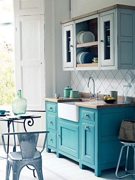 Fired Earth handcrafted and painted Bastide kitchen cabinets
