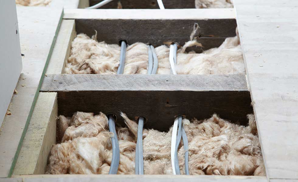 Run cabling over insulation