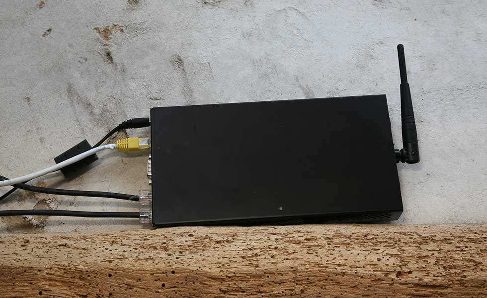 Internet router on top of beam