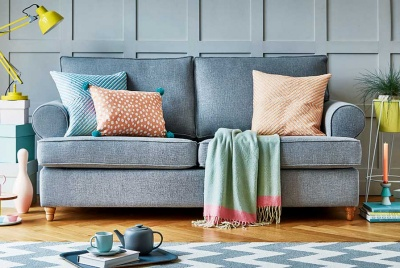 Willow & Hall Buttermere two-seater sofa in Zinc Country linen