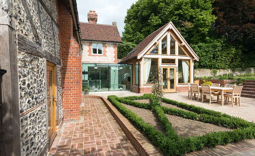 How to add an oak frame extension period living for Oak garden office
