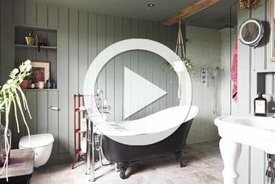 Bathroom with freestanding bath and tongue and groove panelling