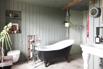 stylish bathroom with wood paneling