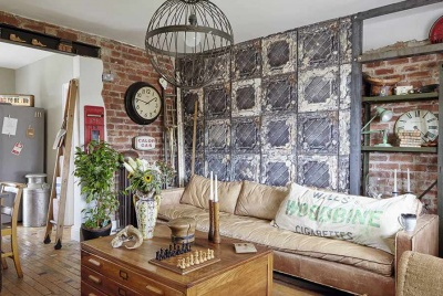 open-plan living room with industrial style in an post-war home