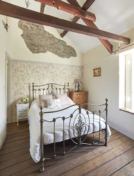 master bedroom filled with upcycled finds