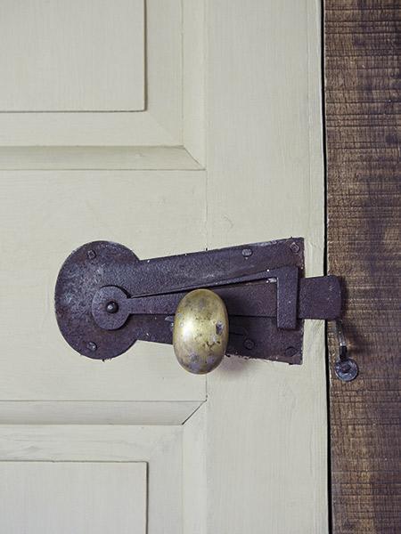 salvaged door handle in 17th-century home