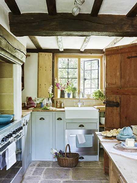kitchen in renovated 17th-century cottage