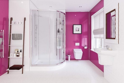 multipanel plus range pink wall panels curved shower cubicle