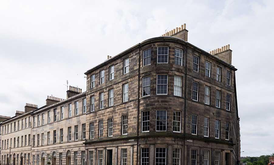 exterior of Georgian apartment in Edinburgh