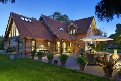 Oak frame home showcases garden
