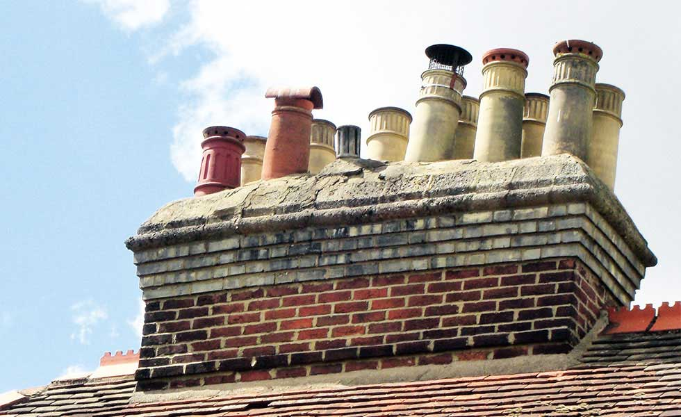 a Victorian mega chimney with several stacks