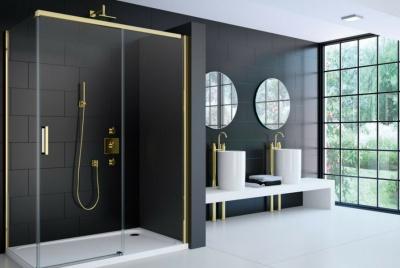 Merlyn 8 Series Colour Sliding Shower Door in Gold