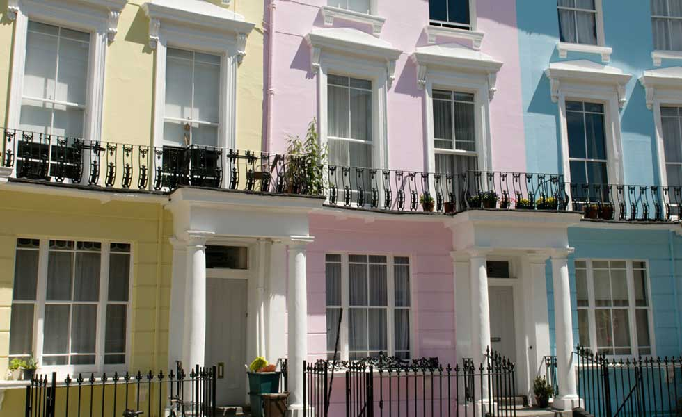 colourful townhouse fecades conservation areas